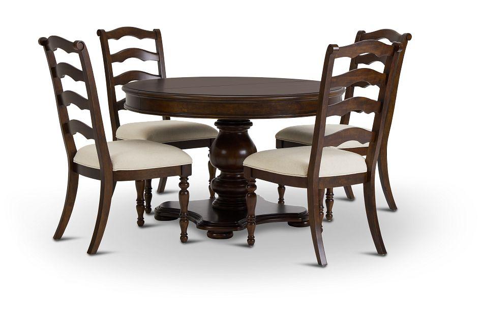 Savannah Dark Tone Round Table & 4 Chairs