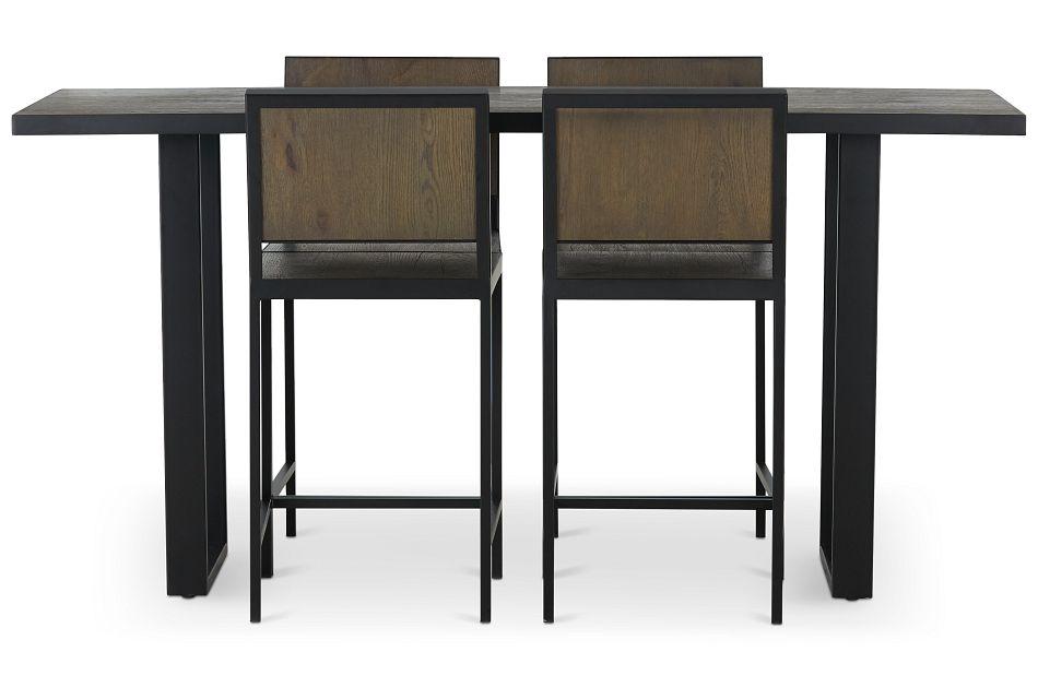 Hudson Dark Tone Wood High Table & 4 Barstools,  (3)