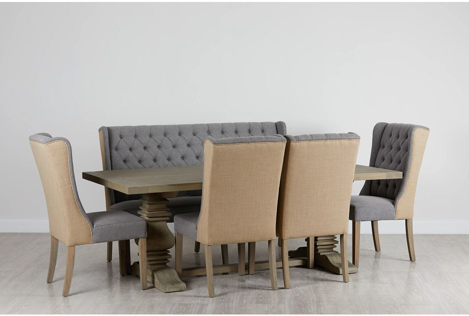 """Hadlow Gray 84"""" Table 4 Tufted Chairs & Bench"""