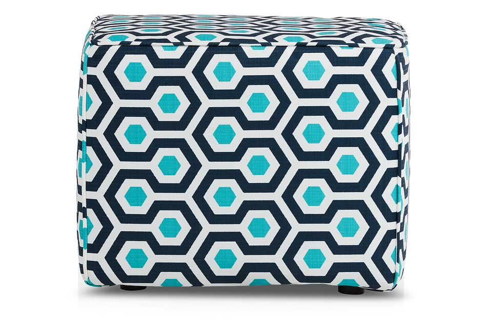 Magna Dark Blue Geometric Indoor/outdoor Accent Ottoman