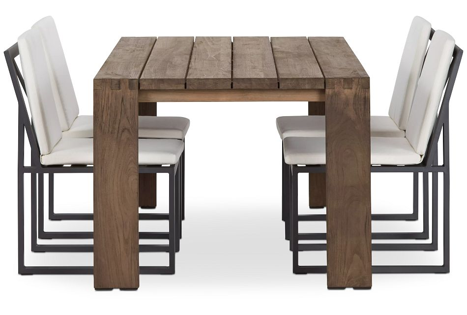 """Linear Dark Gray White 70"""" Teak Table & 4 Cushioned Side Chairs"""