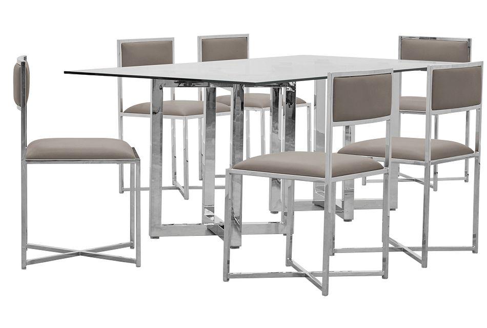 Amalfi Taupe Glass Rectangular Table & 4 Metal Chairs