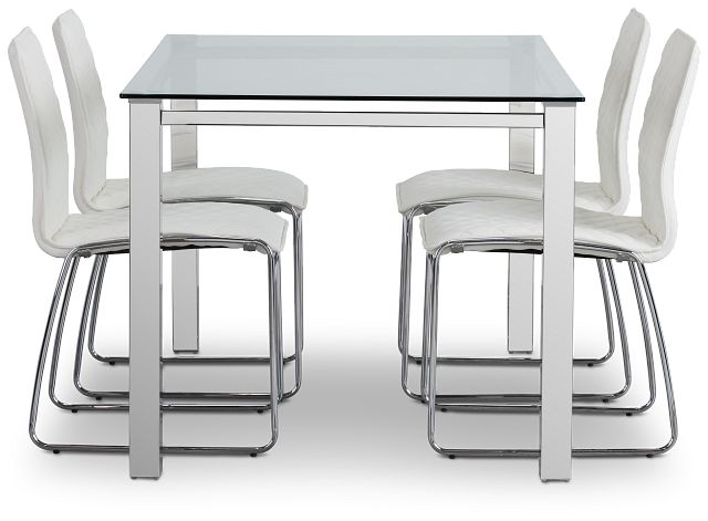 Skyline White Rect Table & 4 Metal Chairs (2)