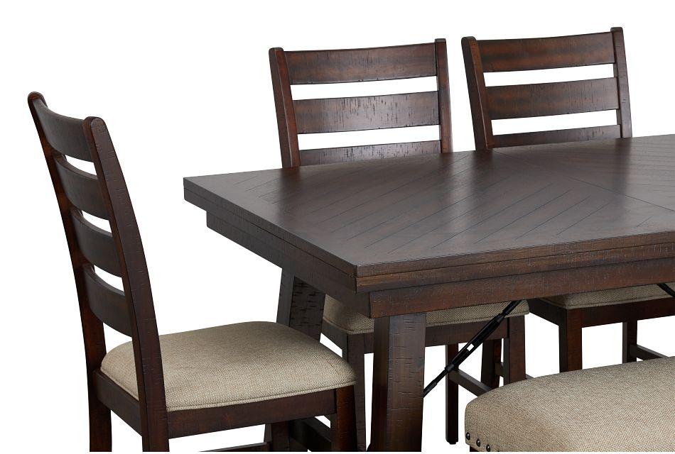 Jax Dark Tone Rect Table, 4 Chairs & Bench