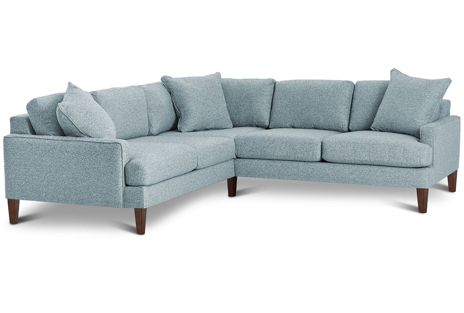Morgan Teal Fabric Small Right 2-arm Sectional W/ Wood Legs