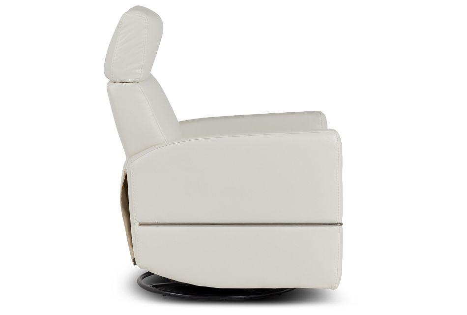Cato White Leather Power Swivel Glider Recliner,  (2)