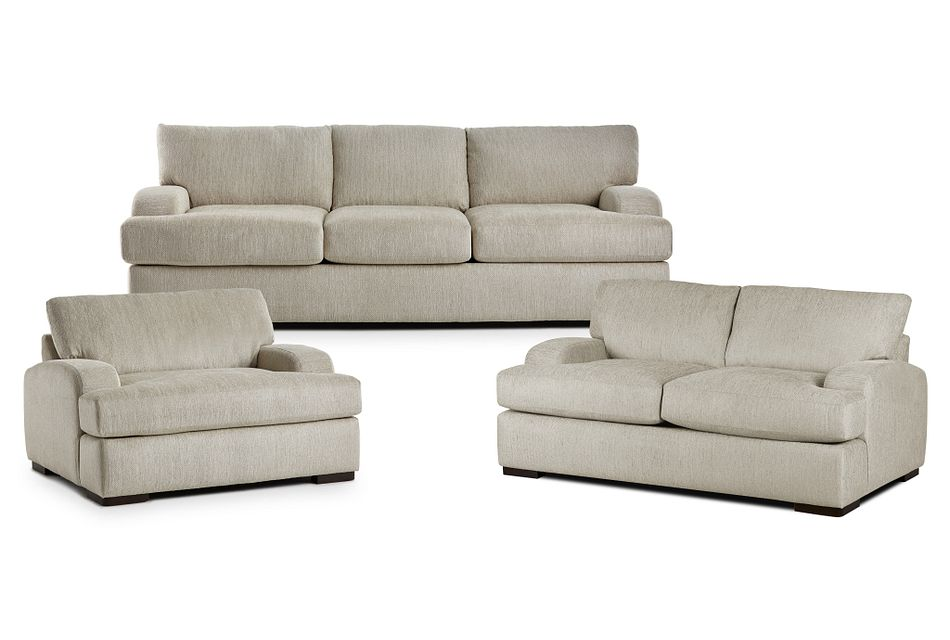 Alpha Beige Fabric Living Room