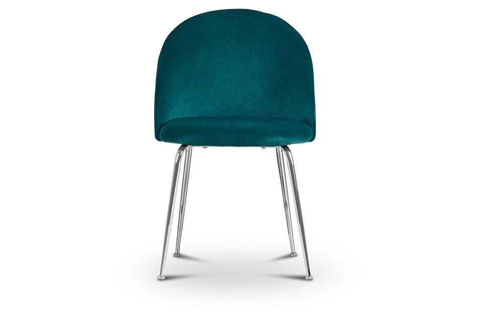 Capri Dark Teal   Upholstered Side Chair w/Chrome Legs,  (3)