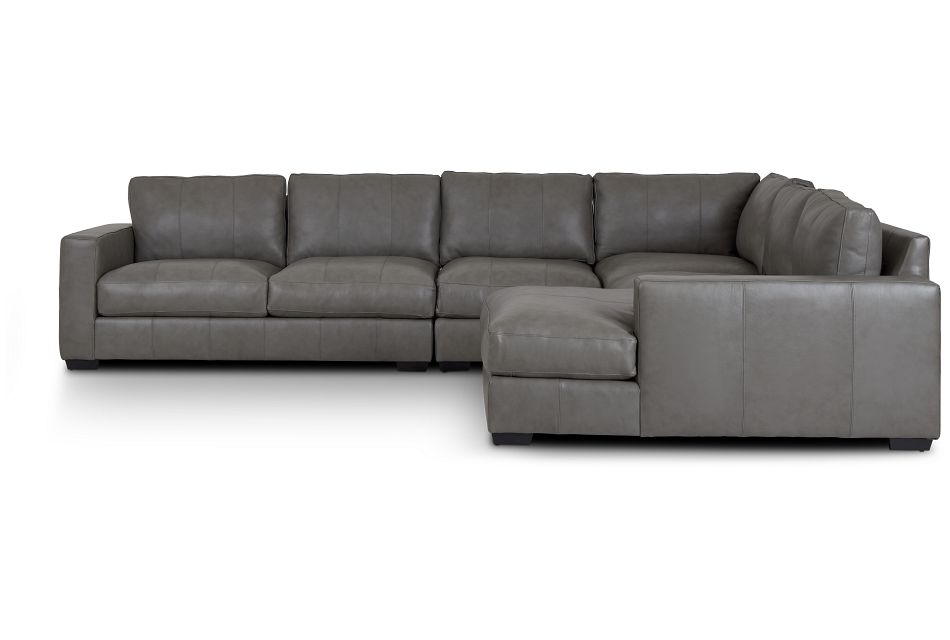 Dawkins Gray Leather Large Right Chaise Sectional,  (2)