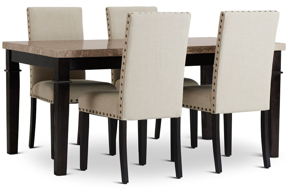 Portia Dark Tone Marble Table & 4 Upholstered Chairs,  (1)