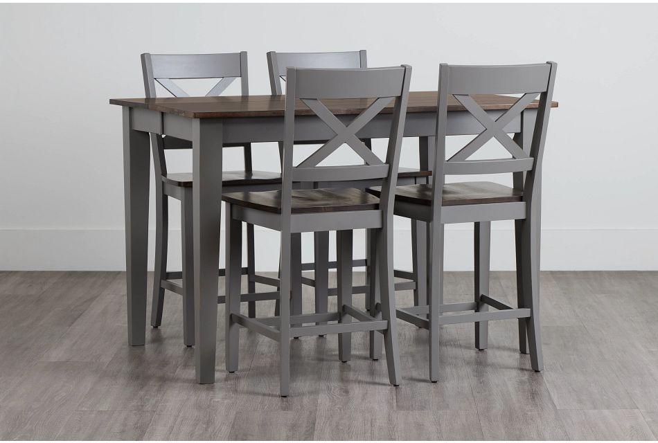Sumter Gray High Table & 4 Barstools,  (0)