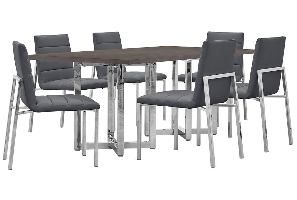 Amalfi GRAY WOOD Rectangular Table & 4 Upholstered Chairs,  (0)
