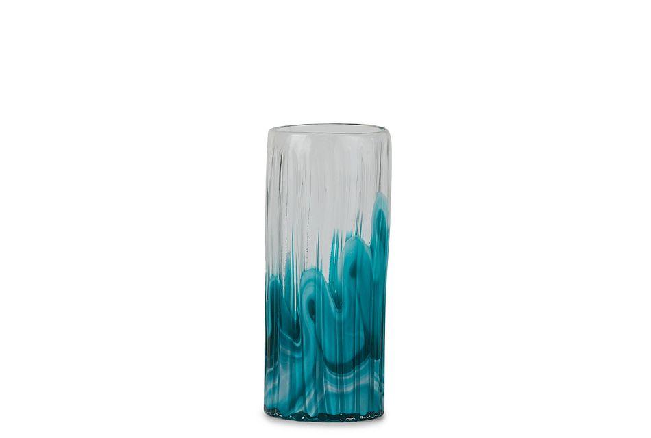 Lia Teal Medium Vase,  (1)