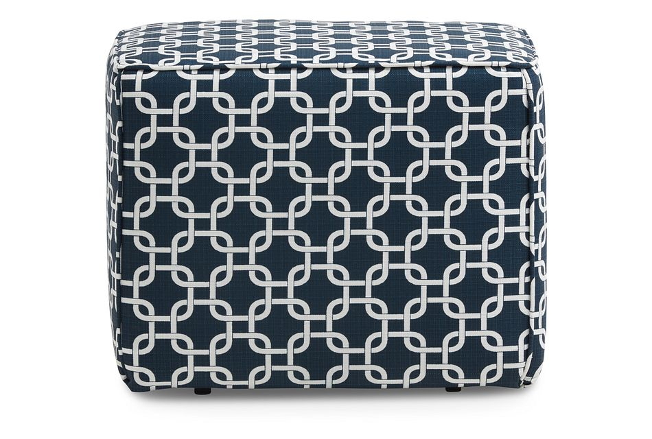 Gotcha Dark Blue Geometric Indoor/outdoor Accent Ottoman