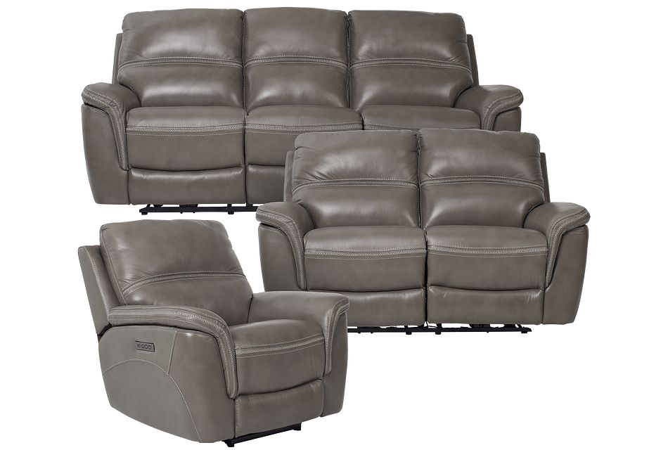 Bryson Dark Gray Lthr/vinyl Power Reclining Living Room