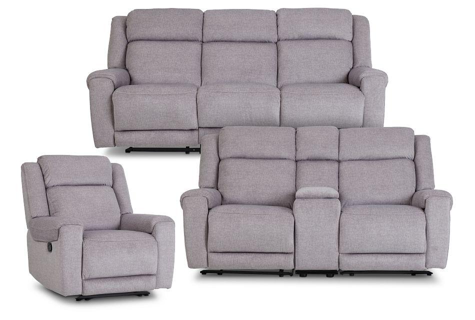 Beckett Gray Micro Manually Reclining Living Room
