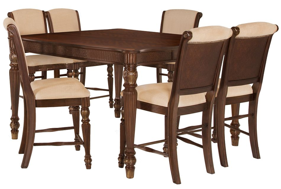 Tradewinds DARK TONE SQUARE High Table & 4 Upholstered Barstools
