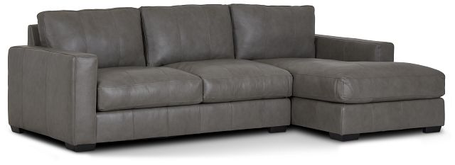Dawkins Gray Leather Right Chaise Sectional (0)