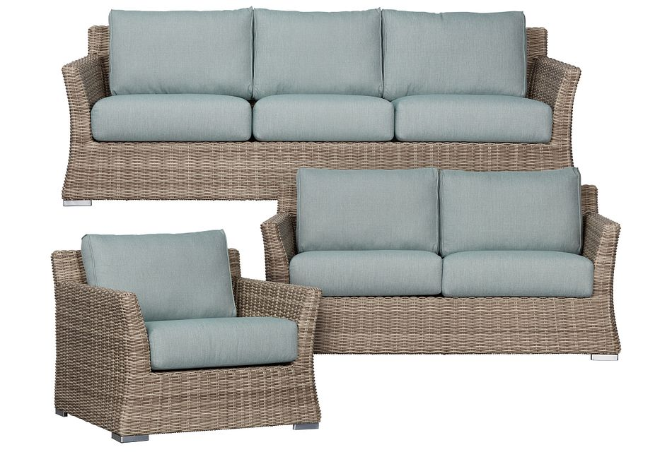 Raleigh Teal Woven Outdoor Living Room Set