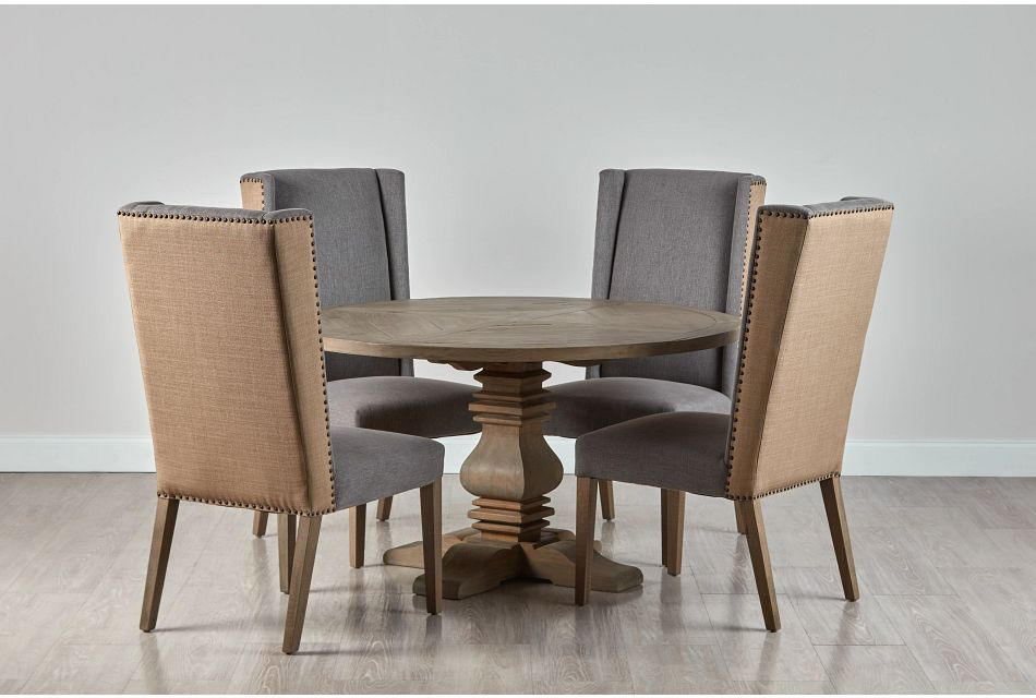 """Hadlow Gray 54"""" Table & 4 Upholstered Chairs"""