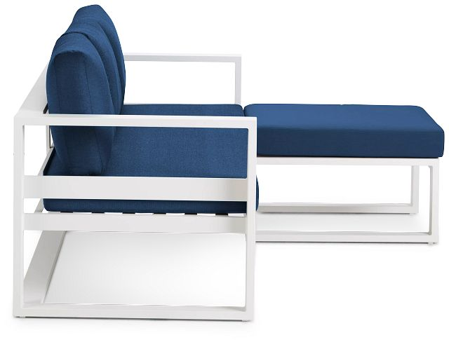 Lisbon Navy Aluminum Chaise Sectional (1)