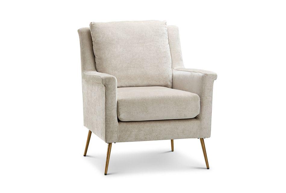 Cambridge Light Beige  Velvet Accent Chair,  (1)