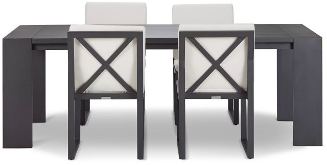 """Linear Dark Gray White 87"""" Aluminum Table & 4 Cushioned Side Chairs (2)"""