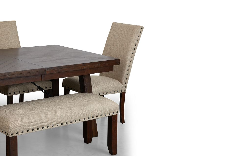 Jax Beige Rect Table, 4 Chairs & Bench