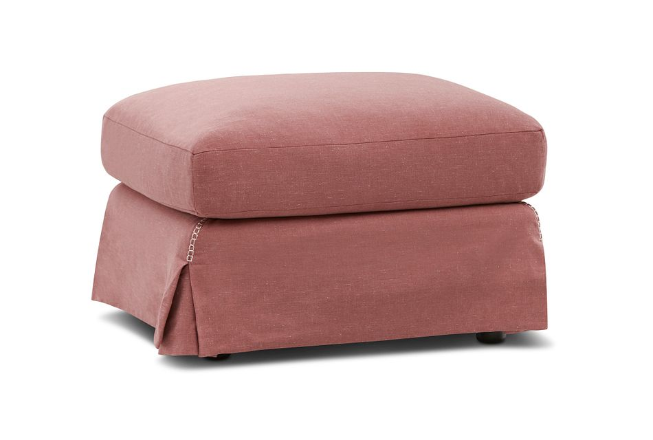Madelyn Red Fabric Ottoman