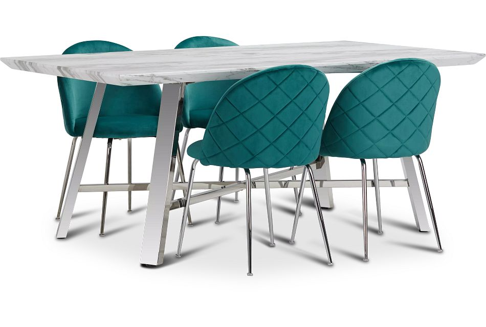 Capri Stainless Steel Dk Teal Rectangular Table & 4 Upholstered Chairs