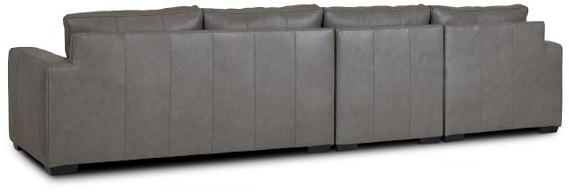 Dawkins Gray Leather Small Left Chaise Sectional (3)