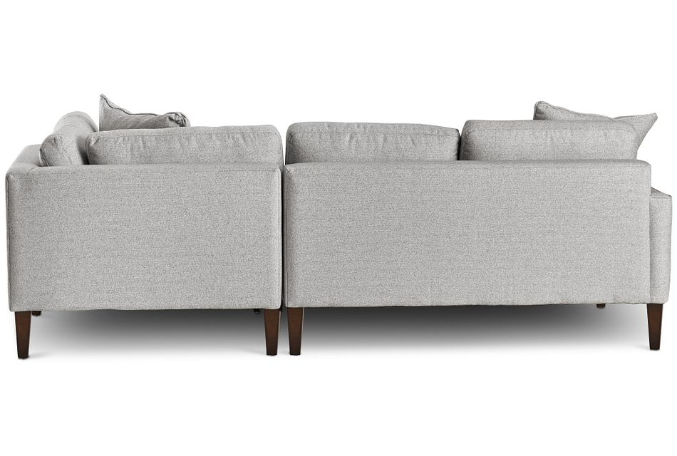 Morgan Light Gray Fabric Small Right Bumper Sectional W/ Wood Legs