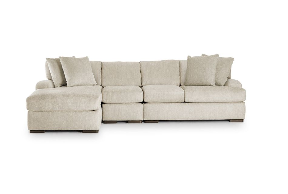 Alpha Beige Fabric Small Left Chaise Sectional