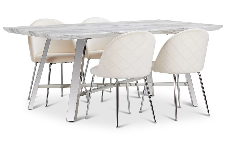 Capri Stainless Steel Ivory Rectangular Table & 4 Upholstered Chairs