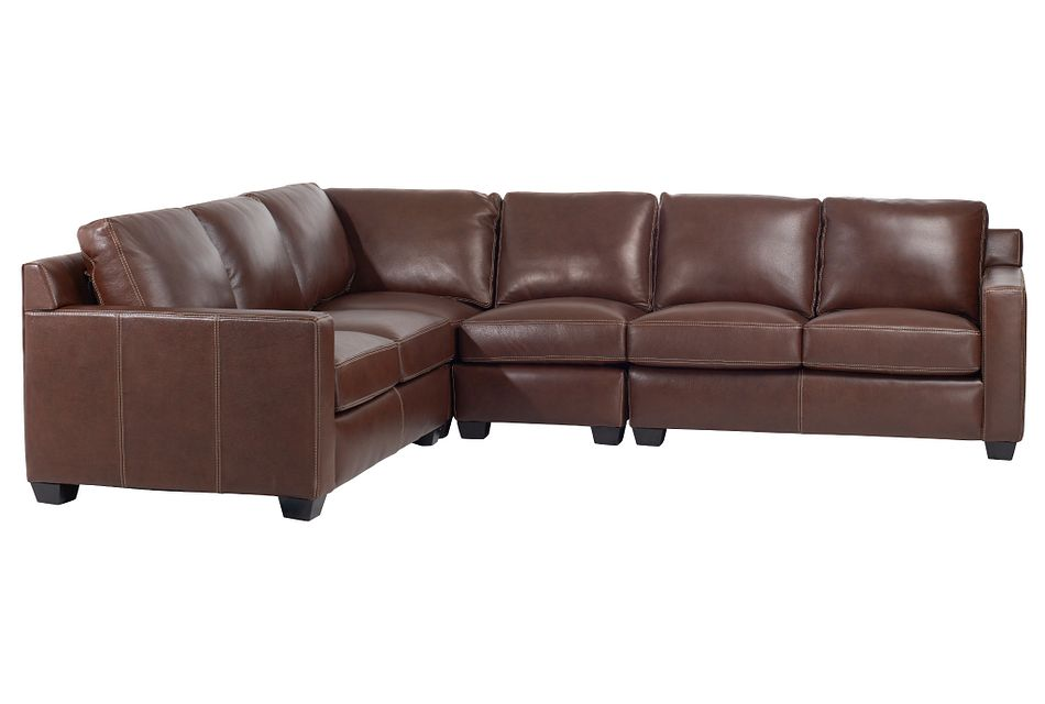 Carson Medium Brown Leather Medium Two-arm Sectional