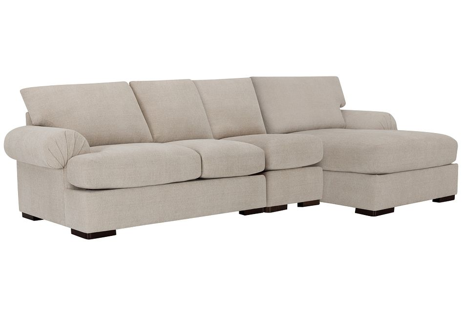Belair Light Taupe  FABRIC Small Right Chaise Sectional