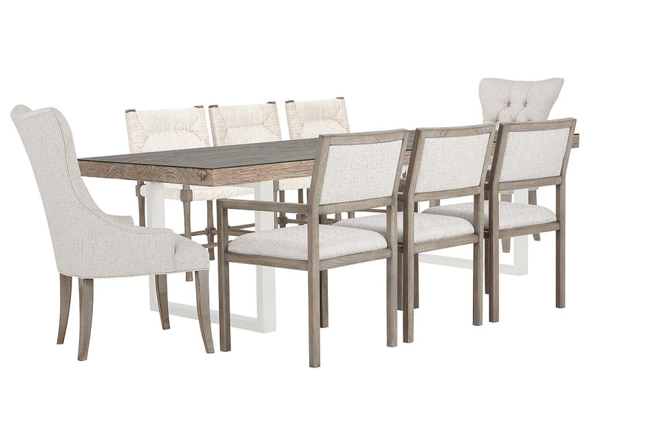 Henley Wood Rectangular Table And Mixed Chairs
