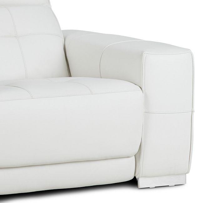 Reva White Leather Power Recliner With Power Headrest