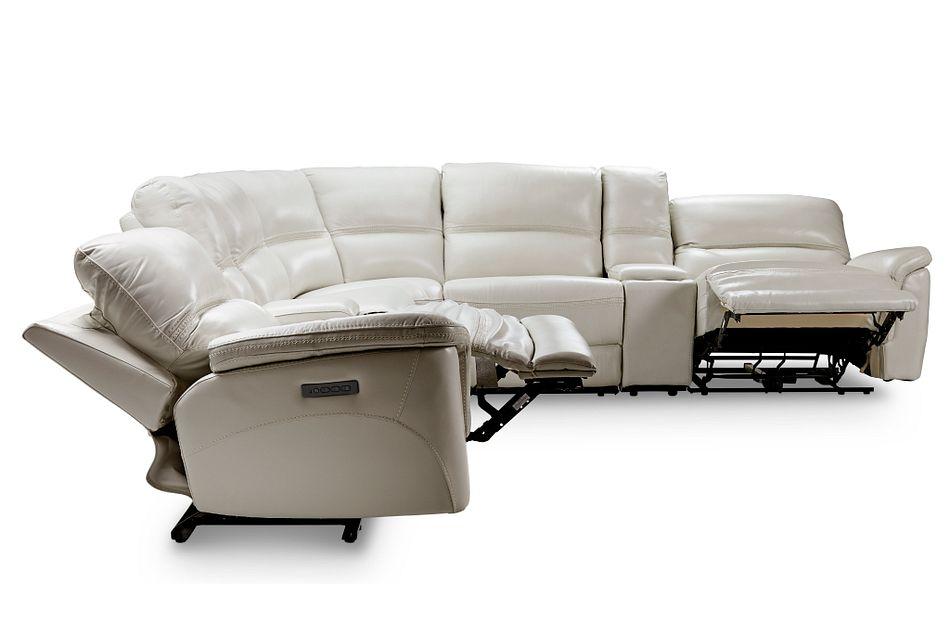 Bryson Light Gray Lthr/vinyl Large Dual Power Reclining Two-arm Sectional