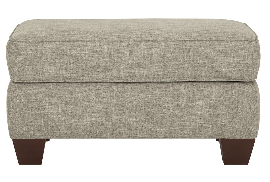 York Pewter Fabric Ottoman