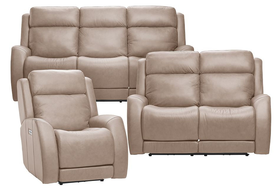 Rawlings Taupe Leather Power Reclining Living Room