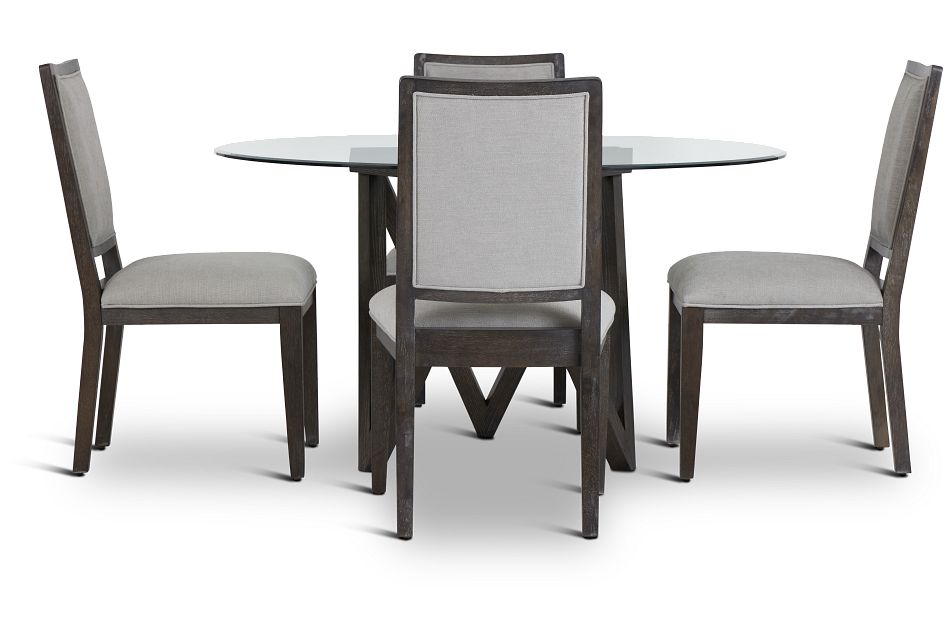 Tribeca Dark Tone Glass Table & 4 Wood Chairs,  (2)