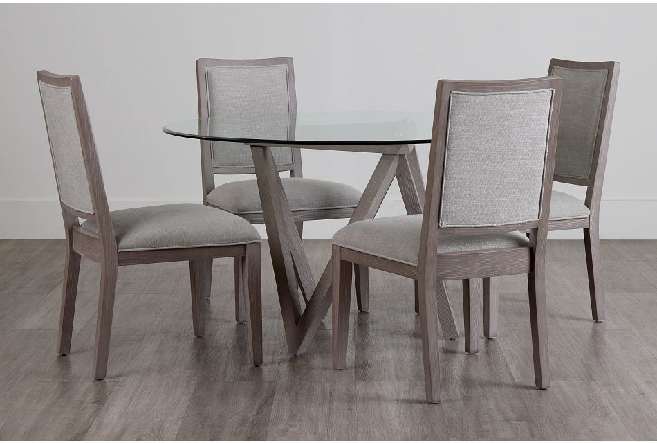 Tribeca Light Tone Glass Table & 4 Wood Chairs,  (0)