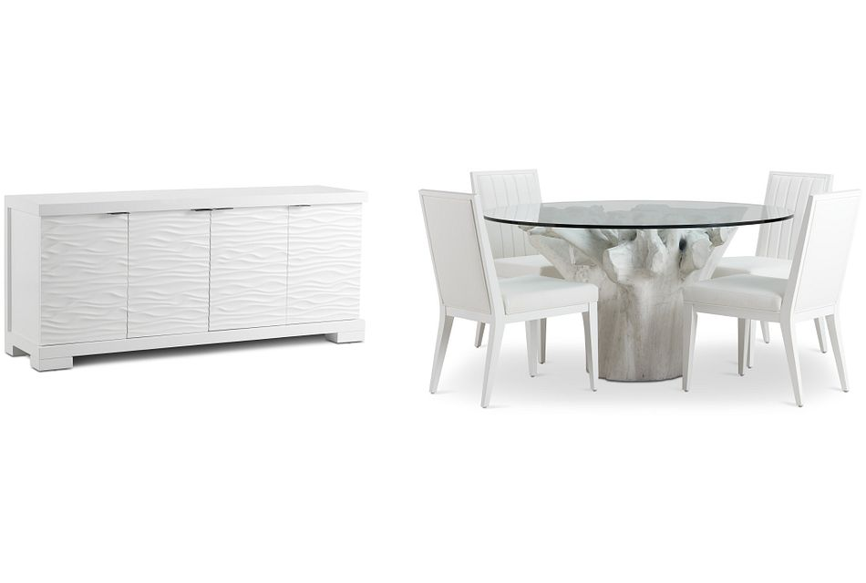"""Ocean Drive 60"""" Glass Dining Room"""