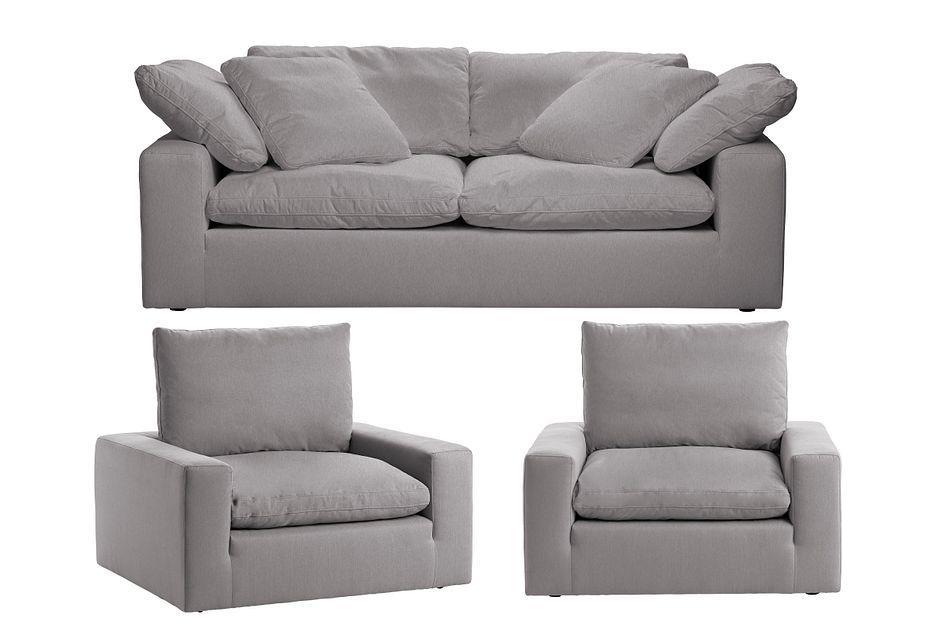 Nixon Light Gray Fabric Living Room