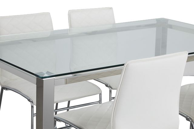 Skyline White Rect Table & 4 Metal Chairs