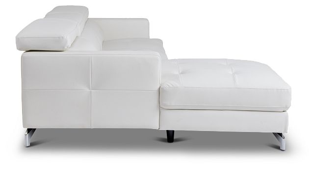 Marquez White Micro Left Chaise Sectional (2)