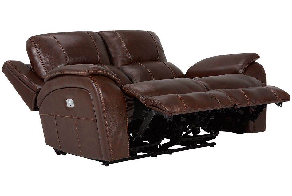 Memphis Medium Brown Lthr/vinyl Power Reclining Loveseat