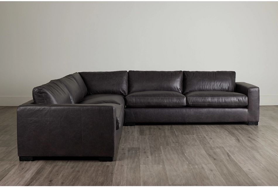 Bohan Black Leather Large Two-Arm Sectional,  (0)