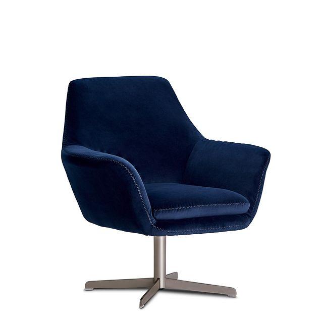 Xander Dark Blue Velvet Swivel Accent Chair (1)